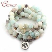купить CANNER Natural Stone Bracelets for Women Men Matte Amazonite Stone Strand Bracelet Charm Yoga Chakra Bracelet Handmade Jewelry по цене 186.28 рублей