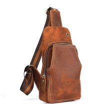 QIUSIC Original handmade nature leather mens chest bag vintage crazy horse skin first layer of messenger 012