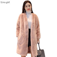 New Winter Girls Long Loose Fake Mink Fur Coat Full Sleeve V Neck Full Pelt Thick