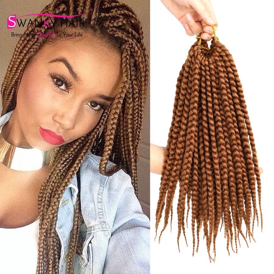 Crochet Box Braids Online : New 14 Box Braids Crochet Hair Short Small Black 1B Synthetic Crochet ...