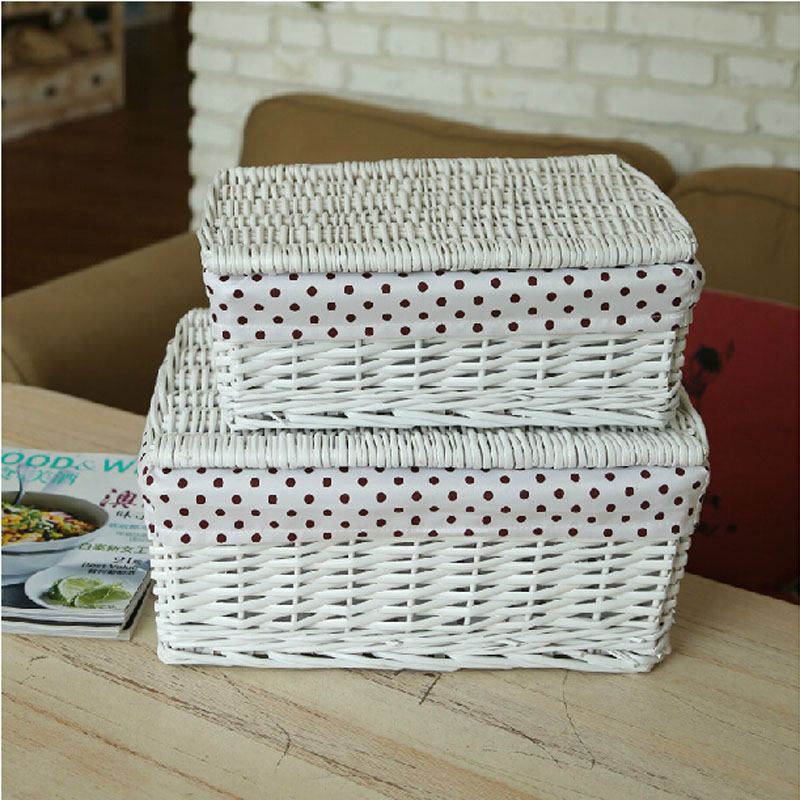 Brown White Wicker Storage Baskets With Lids Organizador