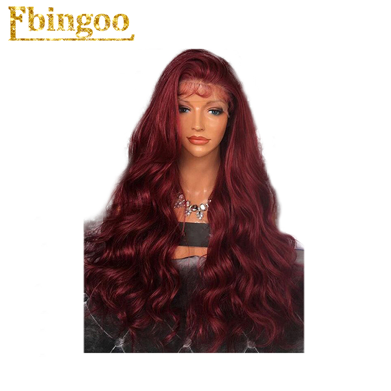 Ebingoo New High Temperature Fiber Peruca Long Body Wave Wine Red Synthetic Lace Front Wig With
