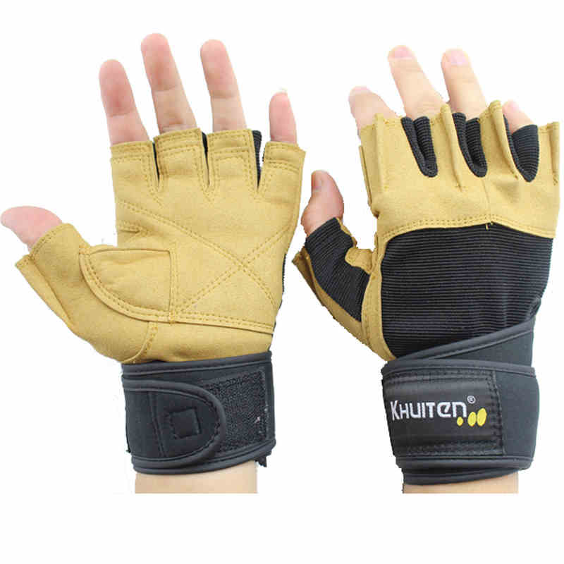 2016 Yeni Eldiven Popüler spor eldiven erkek spor eldiven ekipman eğitim Dambıl yatay yarım eldiven genişletilmiş bilekliği