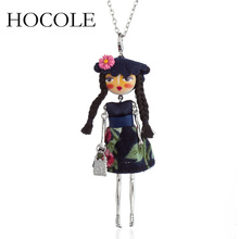 HOCOLE 2018 new women doll lovely long necklaces & pendant hot dress baby girls maxi necklace brand fashion statement jewelry