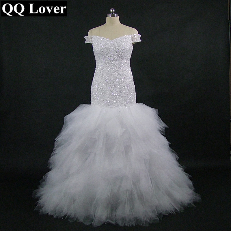 QQ Lover 2018 New African Off The Shoulder Mermaid Wedding Dress Custom-made Plus Size Bridal Wedding Gown