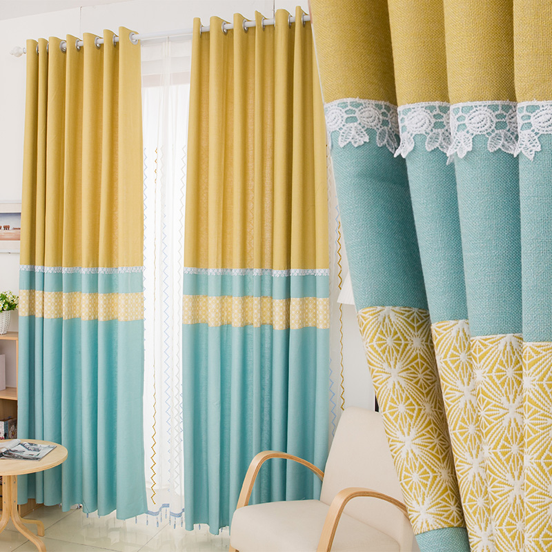 Us 166 9 Curtains Free Shipping Thickening The Nordic Minimalist Modern Yellow And Blue Mosaic Composite Linen Jacquard Curtain In From