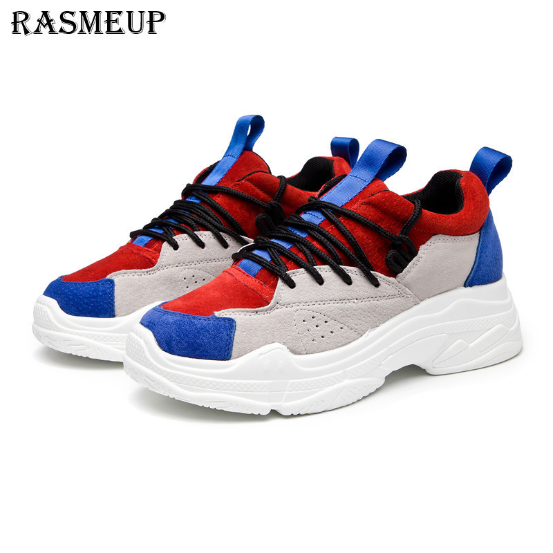 RASMEUP Genuine Suede Leather Women's Platform Sneakers 2018 Fashion Spring Lace Up Women Walking Shoes Casual Woman Dad Shoes pair of sweet candy color gemstone embellished earrings for women