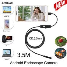 JCWHCAM 5.5mm MircoUSB Android OTG USB Endoscope Camera 3.5M Waterproof Snake Pipe Inspection Android USB Borescope Camera