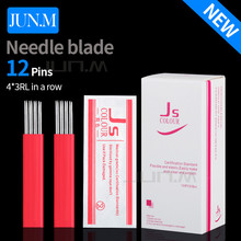 High Quality 50Pcs 4X3Rl Permanent Make Up Tattoo Embroidery Microblading Fog Eyebrow Needles For Permanent Makeup  Pen