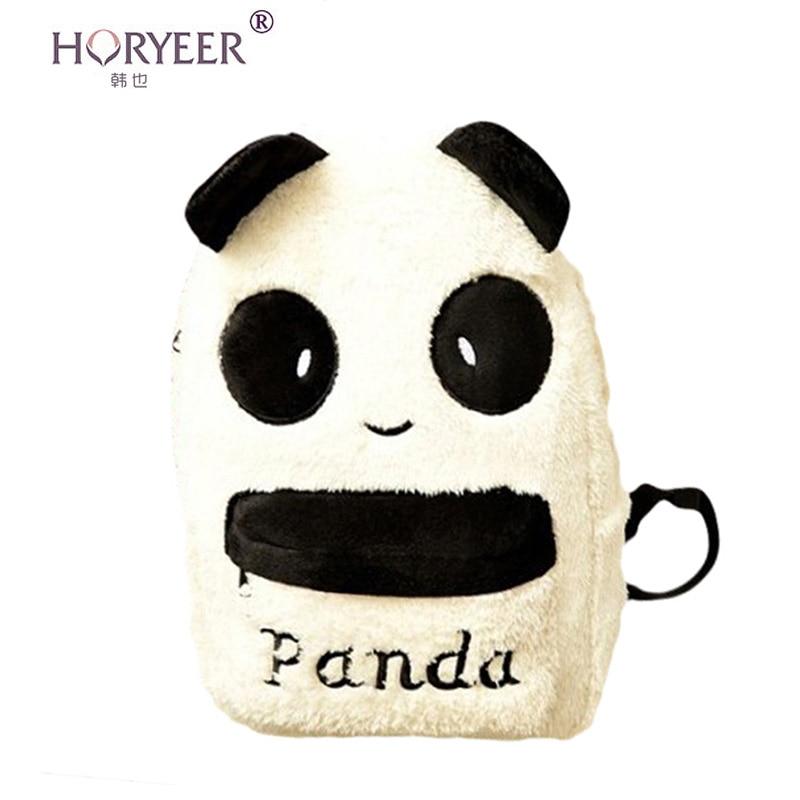 horyeer cartoon plush panda head letter backpack women