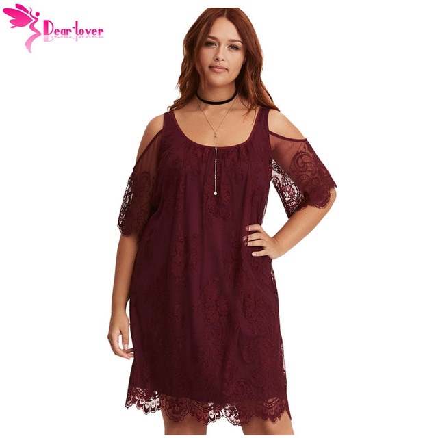 Dear Lover Big Women Loose Dress Fall Burgundy Plus Size Lace Cold