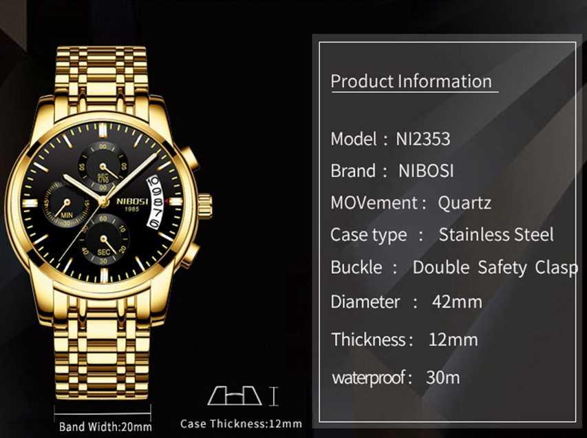dd54700e40ca ... NIBOSI reloj hombre 2018 hombres de negocios de lujo relojes de cuarzo  luminoso impermeable Deporte Militar ...