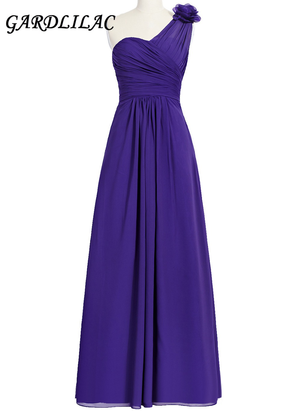 New One-Purple Purple Long Bridesmaid Dresses 2017 Plus Size Chiffon Wedding Party Dress with Flower Maid of Prom Gown