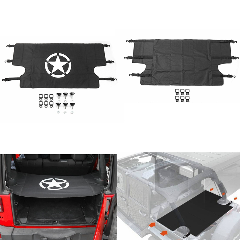 For Jeep Wrangler 07 18 Car Rear Trunk Shade Cargo Cover Shield Luggage Security Shade Sticker