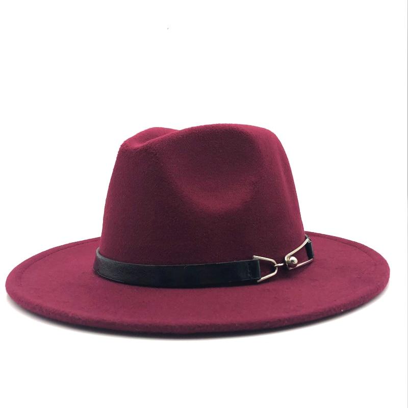 Neue Frauen Männer Wolle Vintage Gangster Trilby Fühlte Fedora Hut Mit Breiter Krempe Gentleman Elegante Dame Winter Herbst Gürtel Jazz kappen