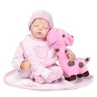 55 cm Sleeping Doll Reborn Silicone Vinyl Body Silver Cloth Newborn Baby Toys Bebe Girls Christmas Gifts Reborn Bonecas