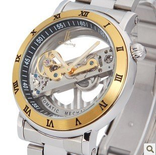 Ik brand Gold & Sliver luxury skeleton Automatic mechanical men hand wind stainless steel designer dress analog watch waterproof