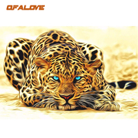 QFALOVE Abstract Leopard Animals DIY Painting By Number Acrylic Wall Art Picture Canvas Painting Home Decor