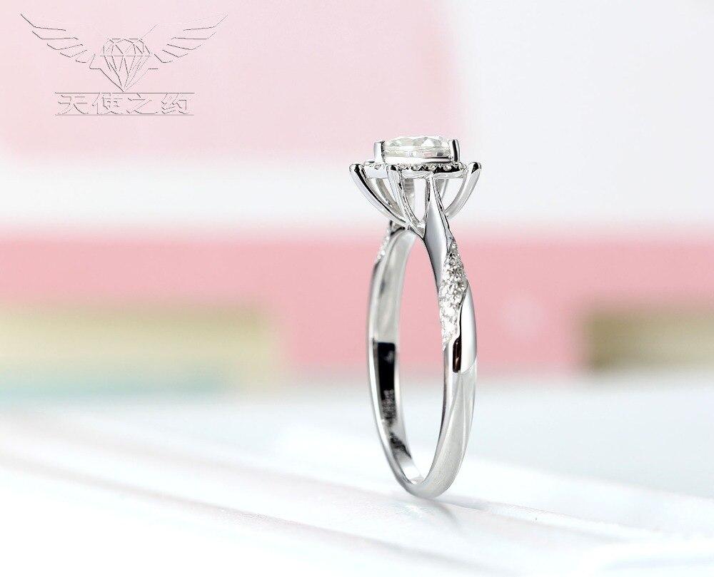 14K White Gold /5.5mm Heart Diamond/Moissanite Diamond Ring For Sale ...