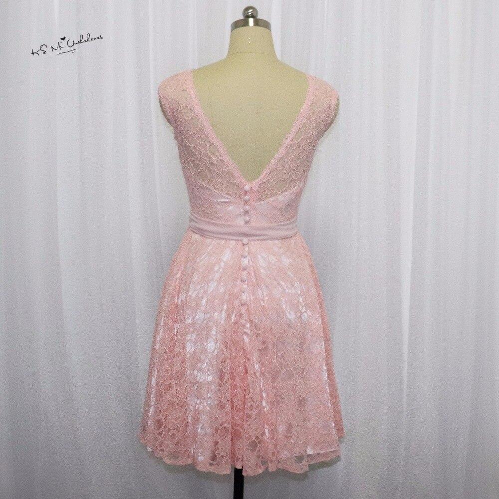 us $69.75 25% off|rosa erröten brautjungfer kleid spitze flügelärmeln  knielangen hochzeitsgast kleider kurzes kleid für hochzeit vestido