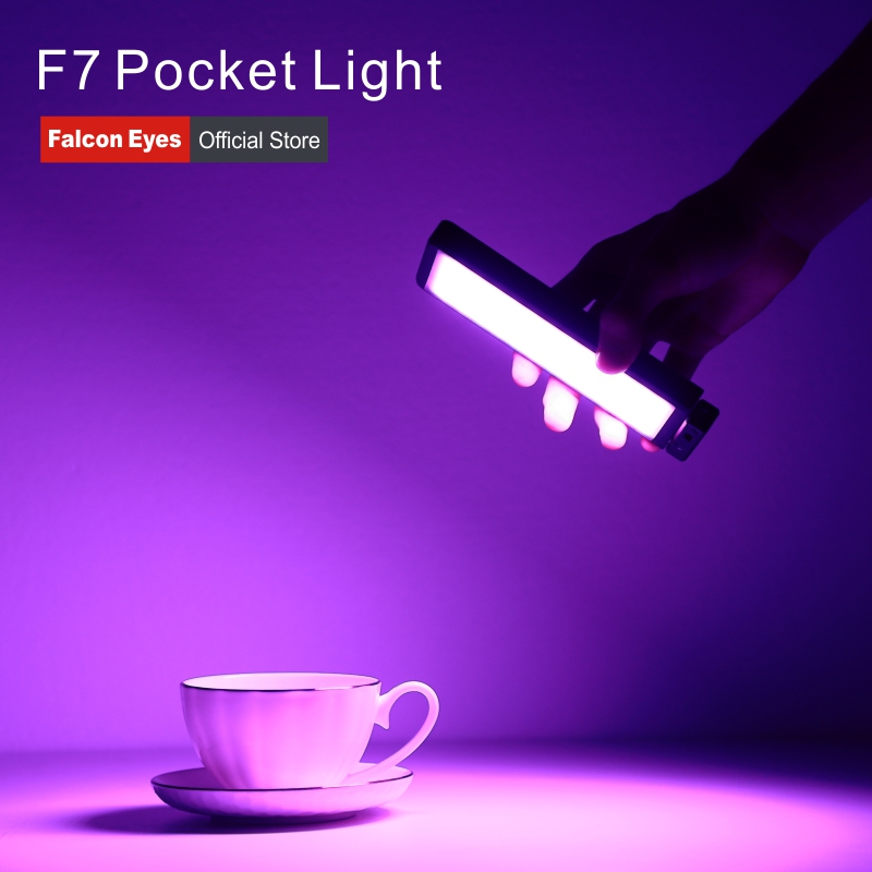 Falcon Eyes 12W RGB LED Mini Pocket On Camera Light With Special-Effects Mode Portable For Video/Photo/Product Photography F7