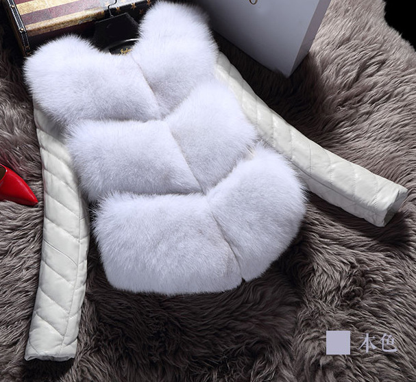 gris blanc Cuir Manteau Imitation Renard Patchwork Directe Pleine Manteaux bleu Faux Vente Femme Mince Veste Chaud De marron D'hiver Mode Aucun Noir Chaude 2018 Mosaïque pwnSn4qg
