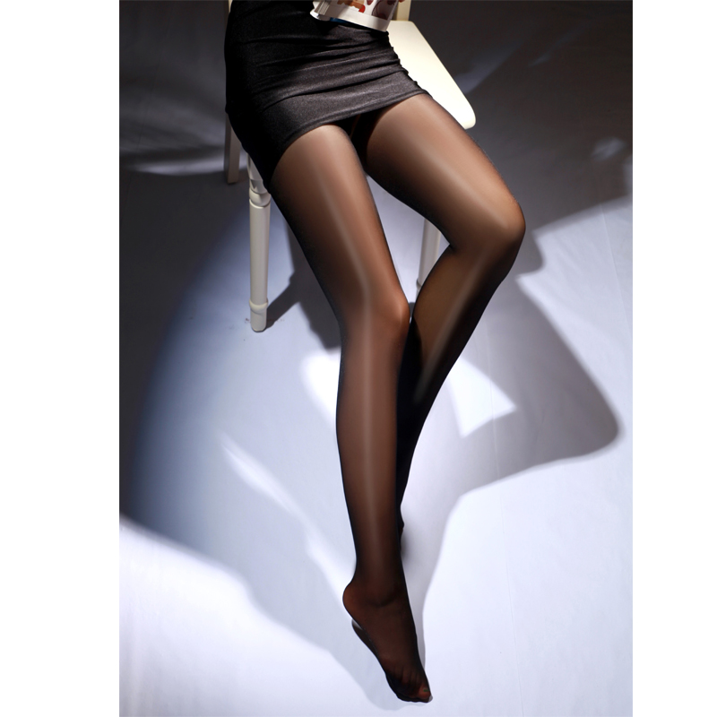 Sexy Seamless Glossy Tights Women Rolled Oil Dance Open Crotch Pantyhose Thigh High Solid Tight Transparent 2019 Collant Femme