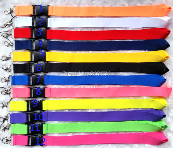 Free Shipping 80pcs mix colour Blank plain Key Lanyard Phone Charm neck strap ch-12