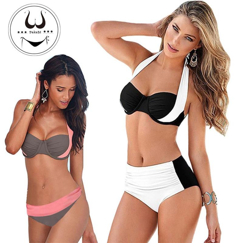 Buy 2018 New Sexy Bikinis Women Swimsuit High Waisted Bathing Suits Swim Halter Push Bikini Set Plus Size Swimwear XXL