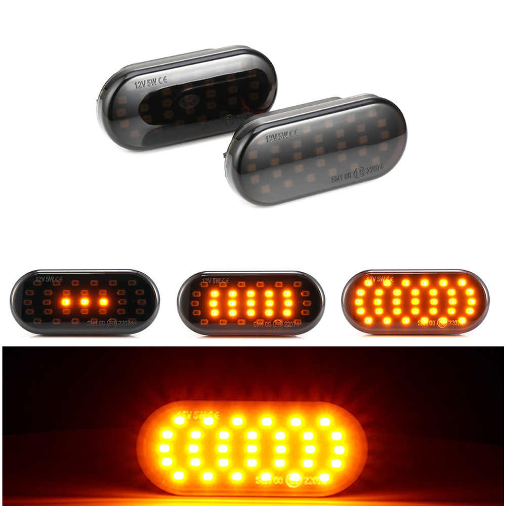 2 pçs para vw golf 3 4 passat polo ford focus seat leon ibiza skoda octavia led marcador lateral dinâmico transformar a luz do sinal fender