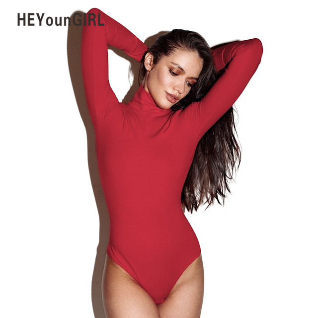 3e721a4b39 HEYounGIRL Turtleneck Women Bodysuits Romper Jumpsuit Sexy Club Bodies Long  Sleeve Bodycon Sheath Bodysuit Solid Blue Playsuits