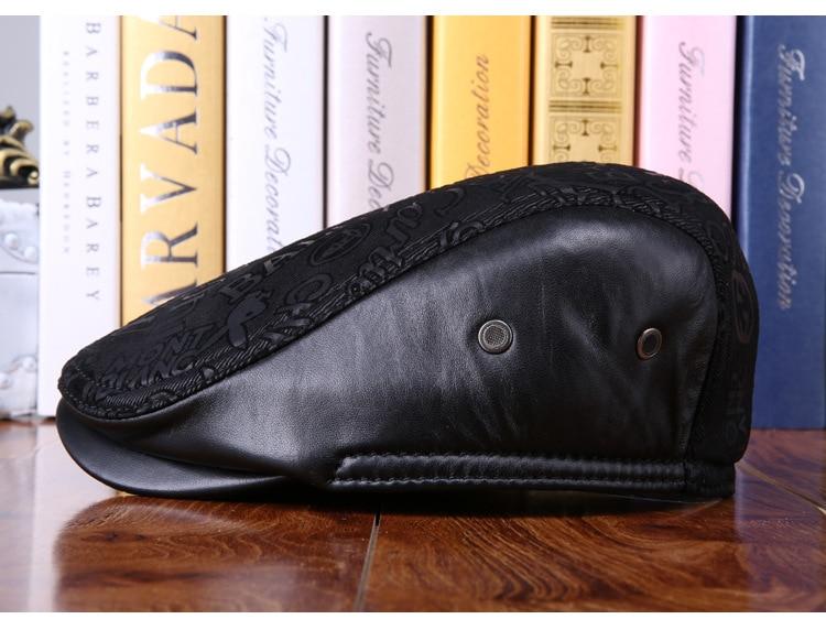 mens winter sheepskin leather baseball caps (18)