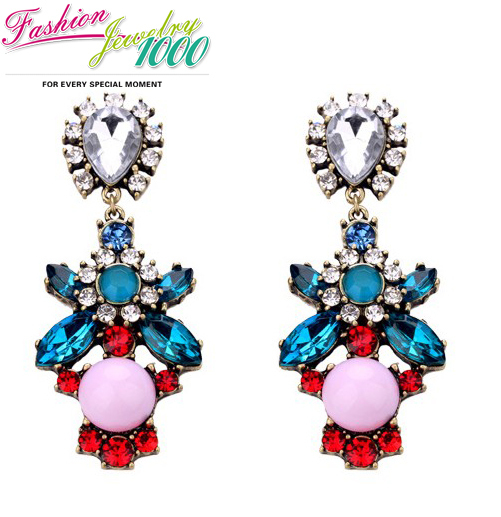 Free Shipping New Fashion Pink Blue Crystal Stone Flower Drop Earrings Vintage Brand Luxury Statement Jewelry Gold Women