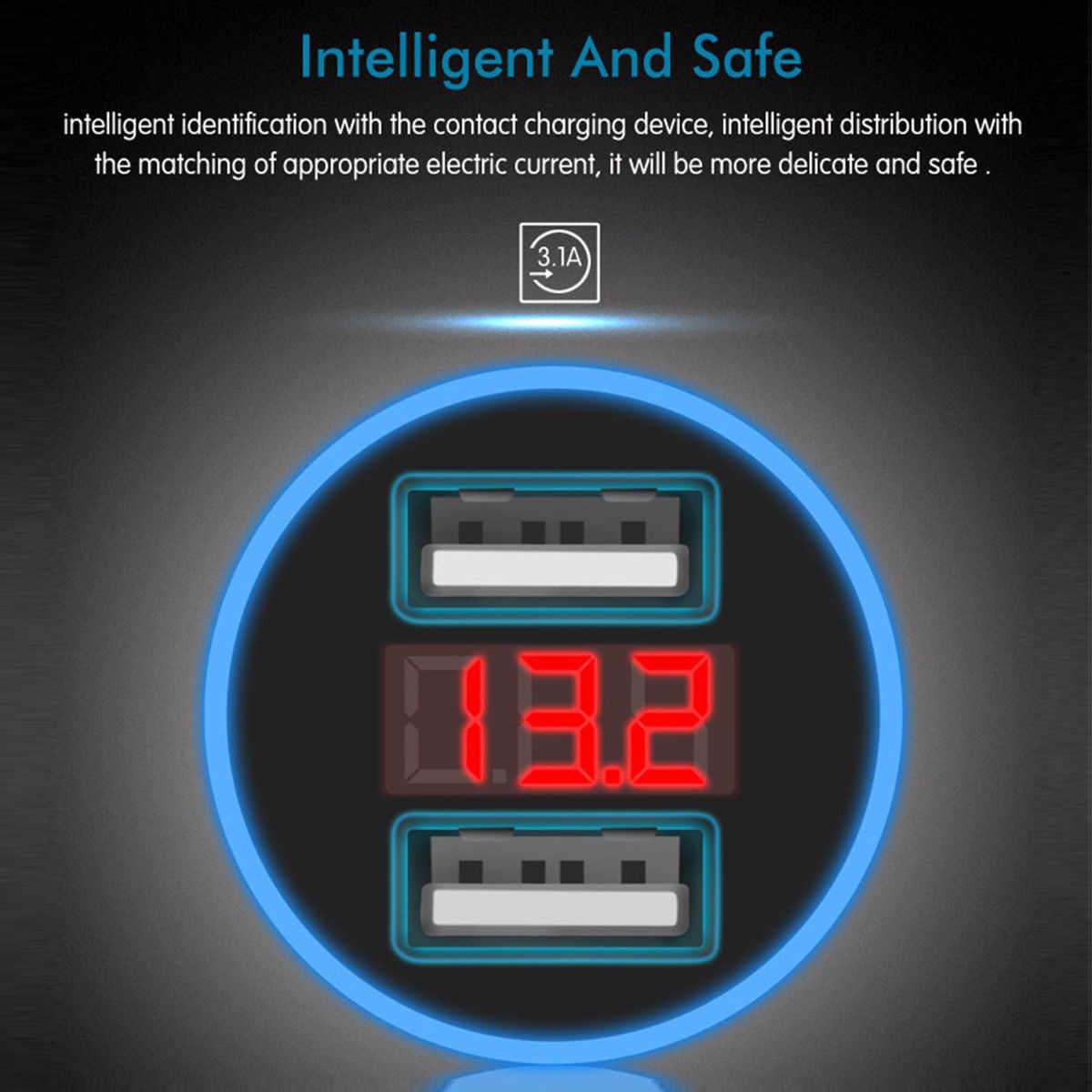المزدوج USB سيارة مهايئ شاحن 3.1A الرقمية LED الجهد/العرض الحالي السيارات سيارة معدنية شاحن ل هاتف ذكي/الجدول Mi