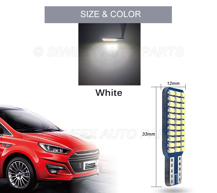 T10 192 194 168 W5W LED Bulbs 33 SMD 3014 Car Tail Lights Dome Lamp White DC 12V Canbus Error Free