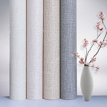 60cmX10m Self-adhesive Modern Simple Wallpapers  Solid Color Linen Wall Paper Bedroom Dormitory Stickers Renovation Sticker