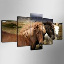 5 Pieces HD Canvas Painting Paint Animal Horse Modular Picture For Modern Decorative Bedroom Living Room Home Wall Art Decor(China)