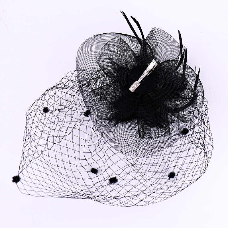 JaneVini Batı Boda Gelin Düğün Şapka Kadın Fascinator Kuruş örgü şapka ile Saç Pin Tüyler Yüz Peçe Kadın Aksesuarları için