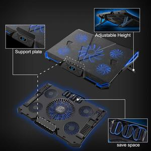 Image 4 - 14 17 inç notebook soğutucu dizüstü soğutma pedi laptop cooler fanı taban Para dizüstü Ventilador dizüstü soğutma standı beş güçlü fanlar