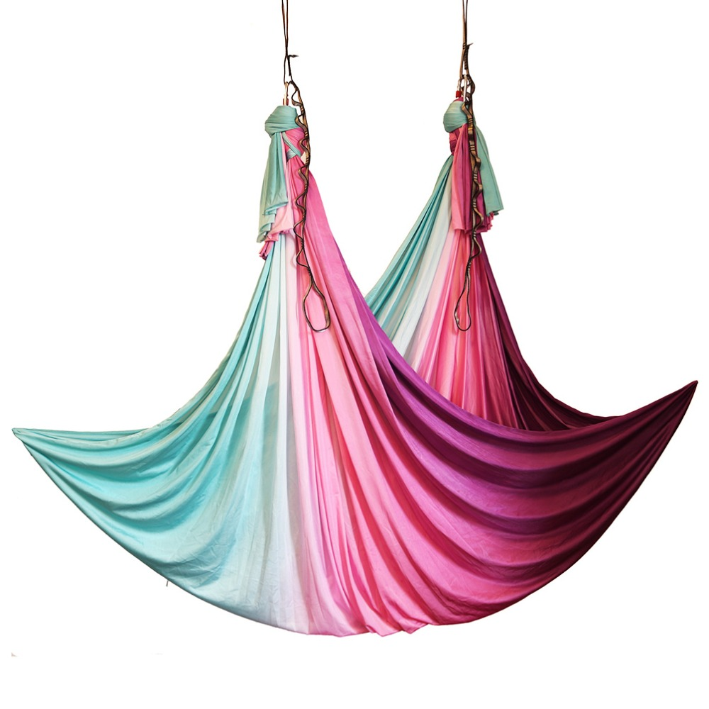 Multicolour 5 meters Aerial Anti-gravity Yoga Hammock Swing Flying Yoga Bed Bodybuilding Gym Fitness Equipment Inversion Trapeze 16 colors inversion trapeze anti gravity aerial traction yoga gym strap yoga swing set strength decompression yoga hammock suits