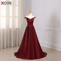 Robe De Soiree Evening Dress Long 2018 Wine Red Elegant Satin V Neck Prom Party Dresses Evening Gown Abendkleider Abiye