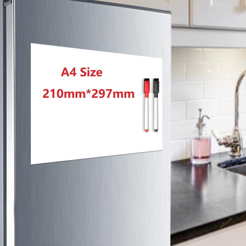 A4 Size Fridge Magnet Magnetic Whiteboard Soft White Board Pen Erasable Drawing Recording Board For Fridge Refrigerator Sticker