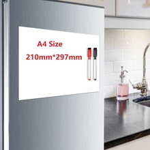Купить с кэшбэком A4 Size Fridge Magnet Magnetic Whiteboard Soft White Board Pen Erasable Drawing Recording Board for Fridge Refrigerator Sticker
