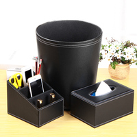 Household leather double layer garbage bucket set fashion wastebasket set