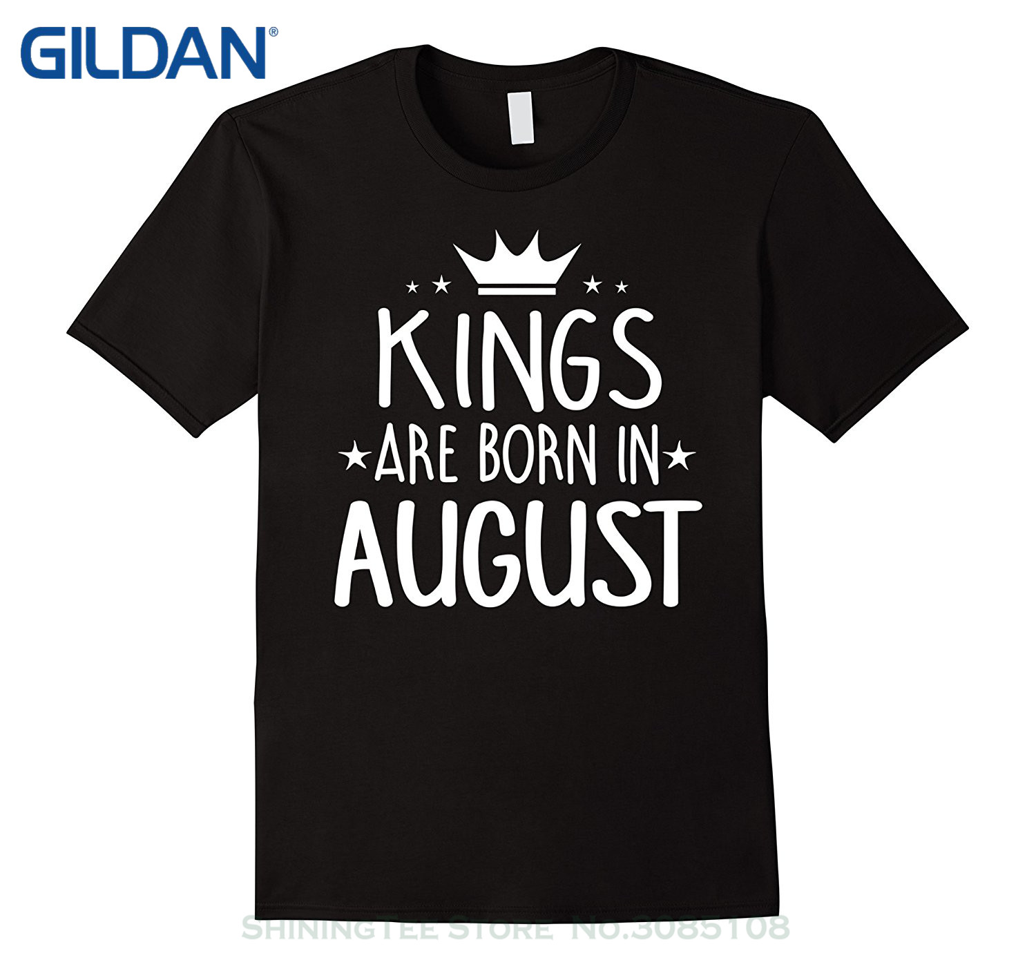 Casual Short Sleeve Tshirt Novelty Kings Are Born In August - Birthday Gift T-shirt