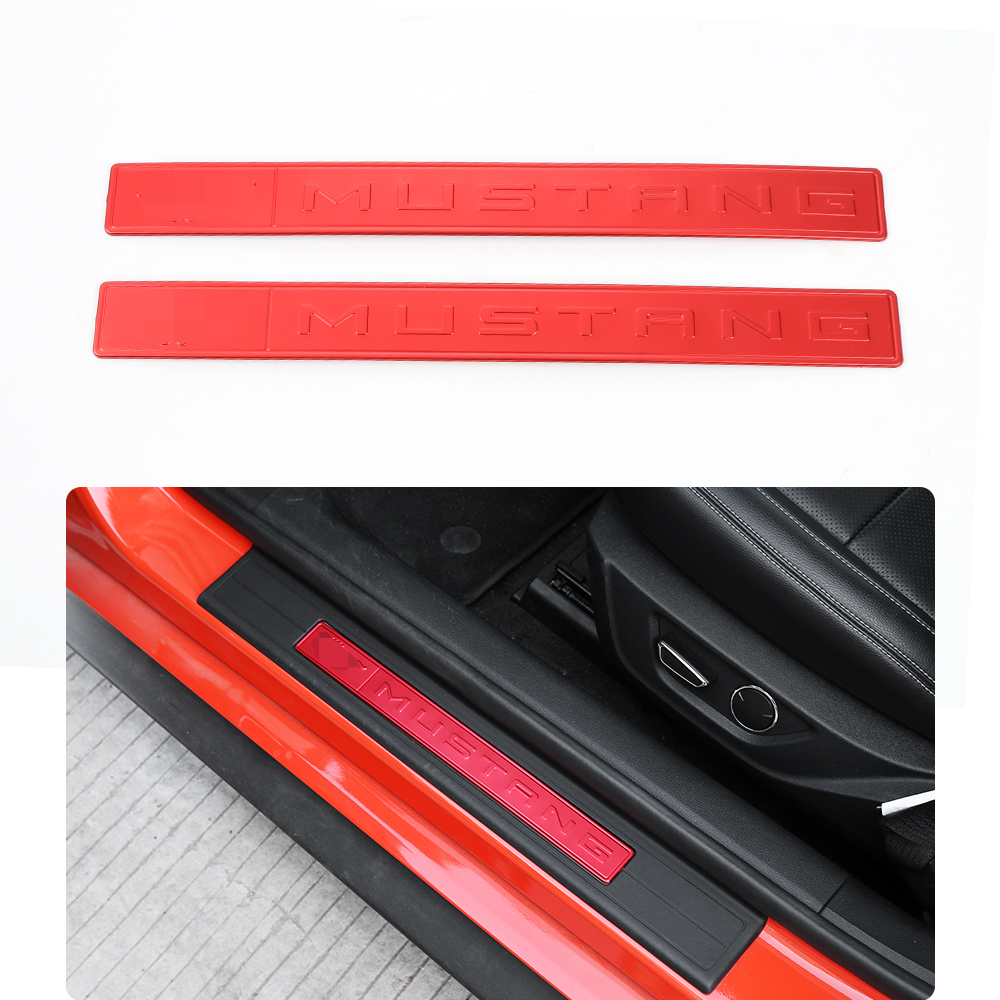 SHINEKA Aluminum Alloy Car Exteior Door Sill Protector Panel Entry Guards Door Plate for Ford Mustang