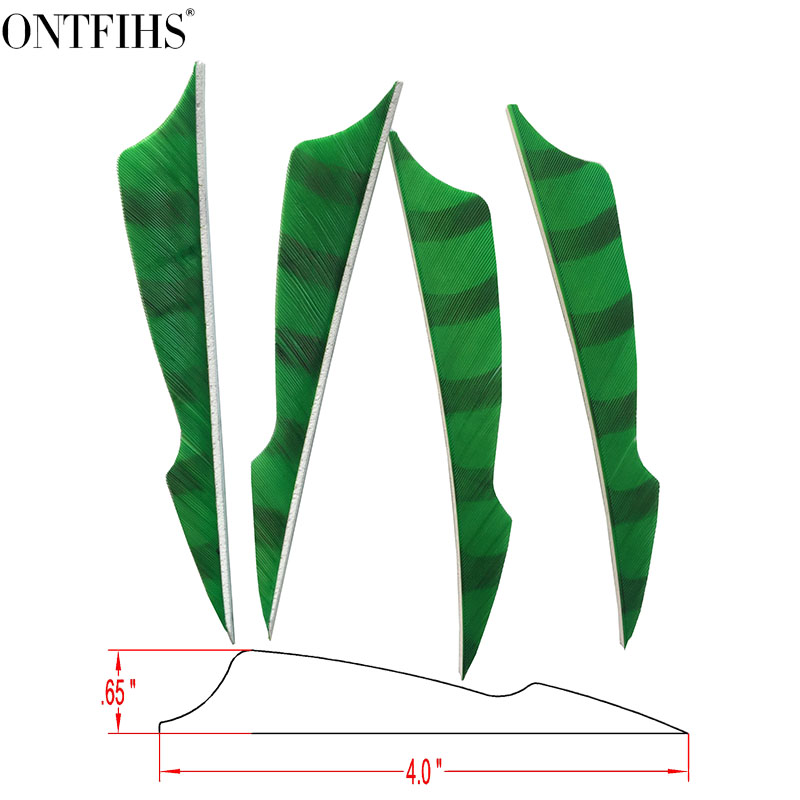 ONTFIHS RW - 50PCS 4 Light Green Striped Double Side Sting Arrrow Feather Fletching Archery Accessories Fletches Feathers