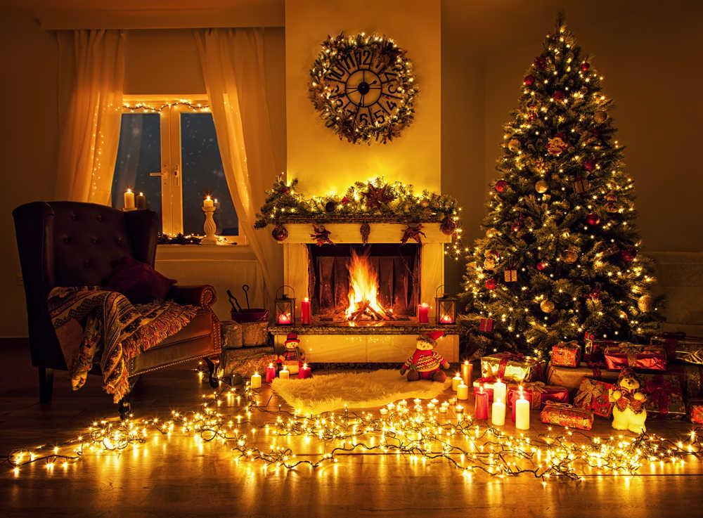 Huayi Christmas Day Photography Backdrop Light Christmas Tree