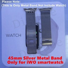 1 stücke Ersatz Lebensmittelqualität Silikonband oder Stahl Metall Band Armband für 45mm MTK2502C iWO 1:1 Smartwatch Correa Reloj