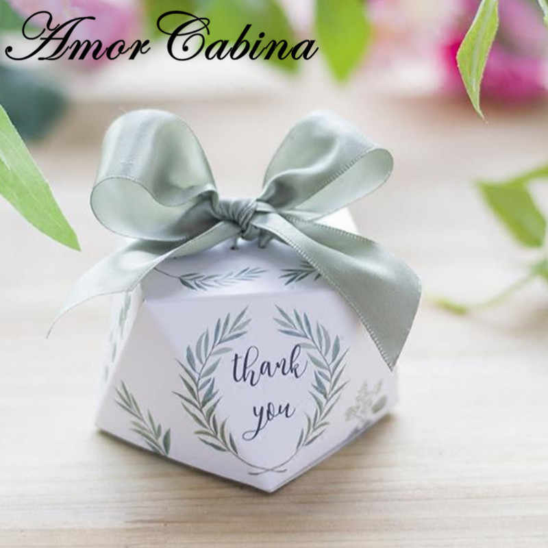 Avrupa elmas şekli yeşil yaprak orman tarzı şeker kutusu romantik düğün hediye parti malzemeleri teşekkür ederim hediye kutusu